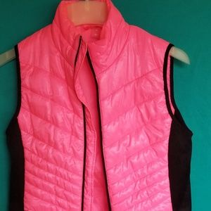 Hot pink and black puff vest